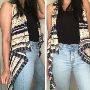 Cream and Blue Boho Crochet Sleeveless Wrap
